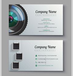 photographer business card template design for vector image