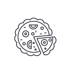 pizza line icon concept pizza linear vector image