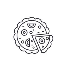 pizza line icon concept pizza linear vector image
