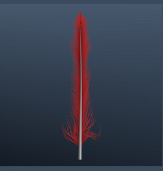 red feather icon realistic style vector image