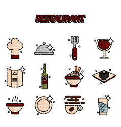 restaurant cartoon concept icons vector image