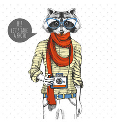 retro hipster animal raccoon with photo camera vector image