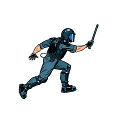 riot policeman attacks with a baton police work vector image