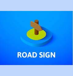 road sign isometric icon isolated on color vector image