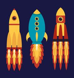 rocket spaceship set of flat icons vector image