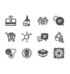 Set business icons such as hold box reject vector