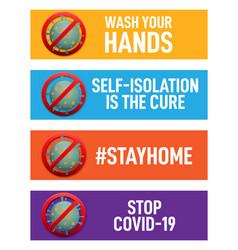 Set corona virus related banners vector