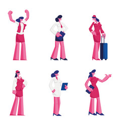 set female characters different professions vector image