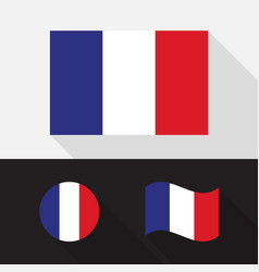 Set france flag flat design vector