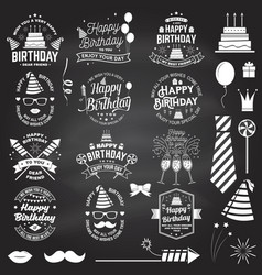 Set happy birthday templates for overlay badge vector