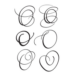 Set of art calligraphy letter o with flourish of vector
