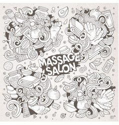Set of massage and spa doodle designs vector