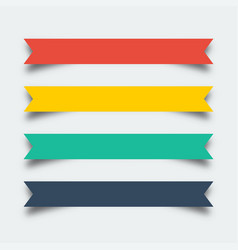 set of ribbons banners in flat design with shadow vector image