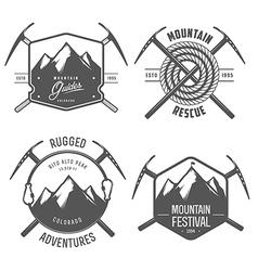 set vintage mountain explorer labels and badges vector image
