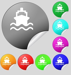 Ship icon sign Set of eight multi-colored round vector