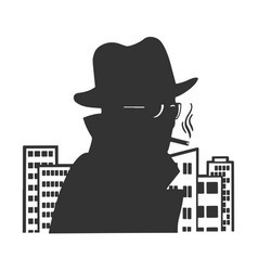 Silhouette spy in city sketch vector
