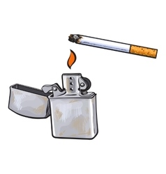Silver metal lighter and burning cigarette sketch vector image