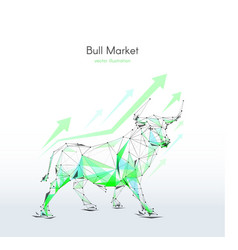 Stock exchange bull low poly color vector