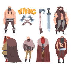 strong muscular vikings collection male and vector image
