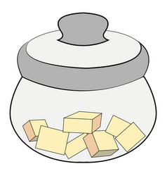 sugar bowl with sugar on white background vector image