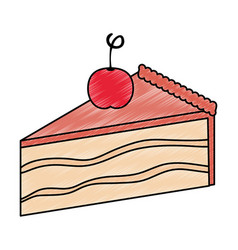 Sweet and delicious cake portion with cherry vector