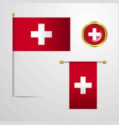 Switzerland waving flag design with badge vector