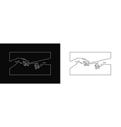t-shirt design with hands going to touch together vector image