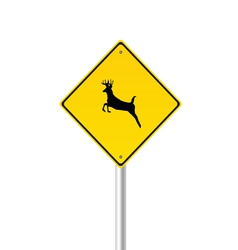 traffic sign with deer color vector image