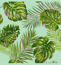 Tropical palm leaves seamless pattern watercolor vector