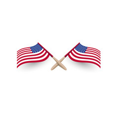United states of america windy waving flag crossed vector