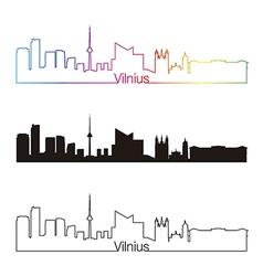vilnius skyline linear style with rainbow vector image