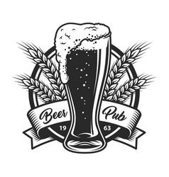 Vintage monochrome beer pub logo vector