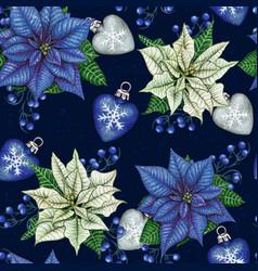 watercolor hand drawn poinsettia christmas vector image