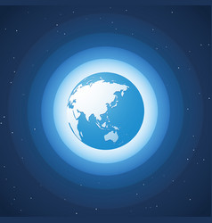 world globe on blue wave background asia vector image