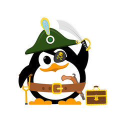 abstract cute penguin in a pirate costume on a vector image