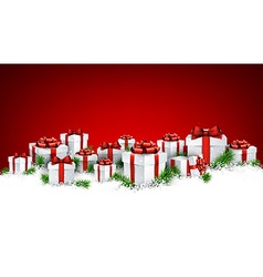 Christmas red background with gift boxes vector image vector image