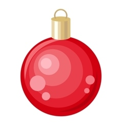 Christmas Tree Red Toy Flat Style Design vector image