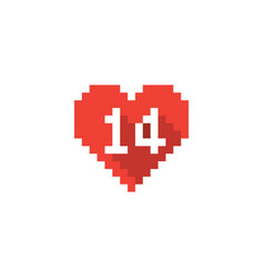 pixel valentines day heart icon with long vector image