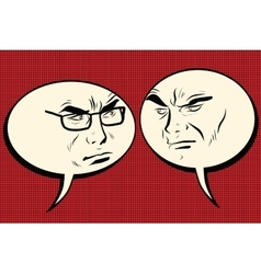 Two angry men talking Comic bubble smiley face vector image vector image
