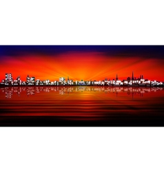 abstract red blue sunset background with vector image