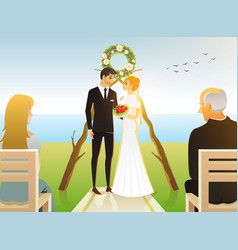 bride and groom wedding ceremony on the beach by vector image