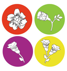 monochrome icon set with flowers vector image vector image