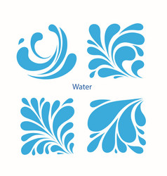 set water blue drops icons vector image