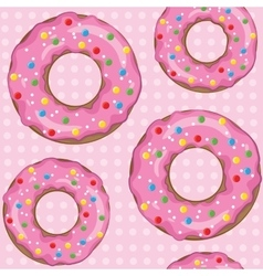 Texture of donuts on a pink color vector image vector image