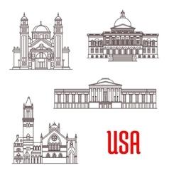 USA architecture landmarks icons vector image