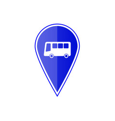 blue map pointer with bus stop vector image