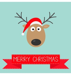 Cute cartoon deer with horns and red hat christmas vector image