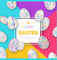 Easter background with square frame and colorful vector