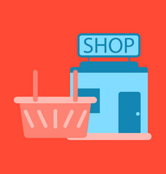 flat icon shop basket vector image vector image