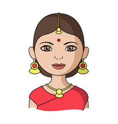 hindu womanhuman race single icon in cartoon vector image vector image